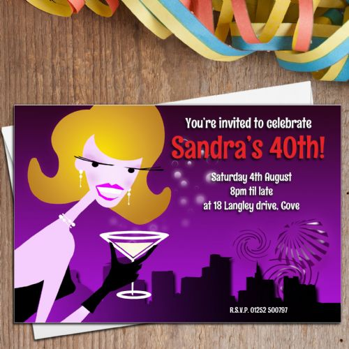 10 Personalised Adult Cocktail Birthday Party Invitations N5